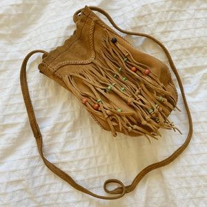 Lucky Brand fringe moccasin bag with beads